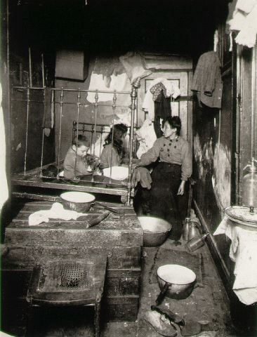 Tenements were poor living quarters that immigrants often lived in. Jacob Riis illuminated them through his muckraking practices. These small homes only encouraged the poverty cycle in industrial cities. This had a negative effect on American Society.
