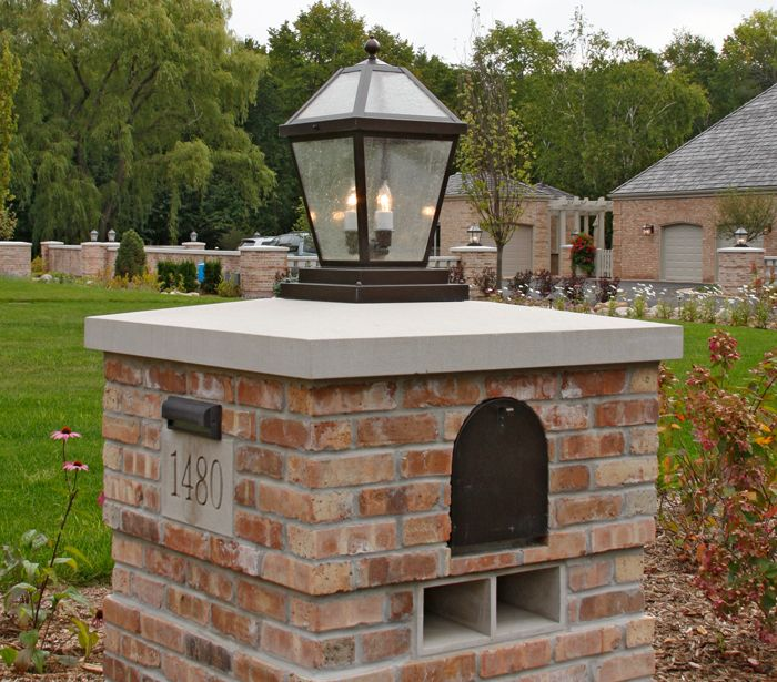 I love this lantern on the brick column with mailbox and for Best mailbox design