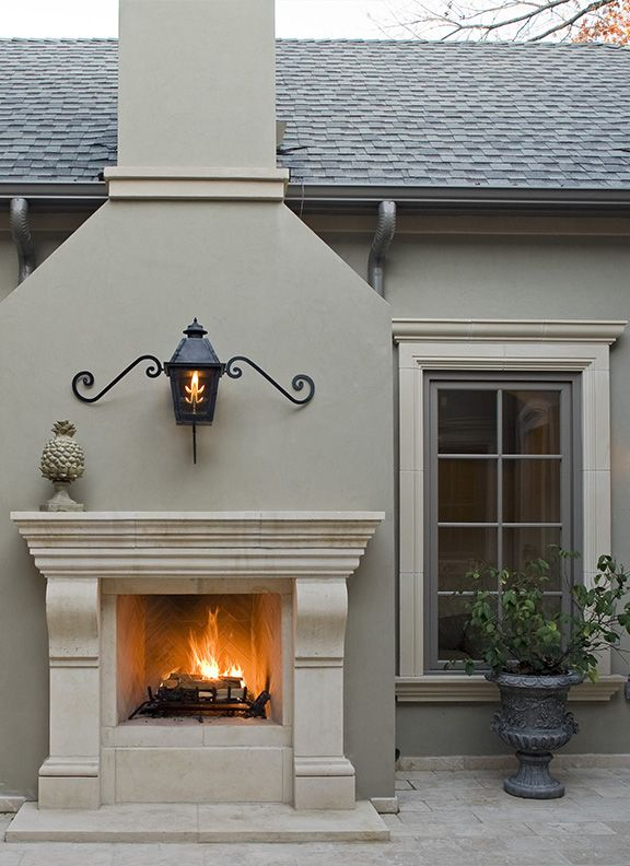 Outdoor fire ... but love the exterior coloring of the home and window panes