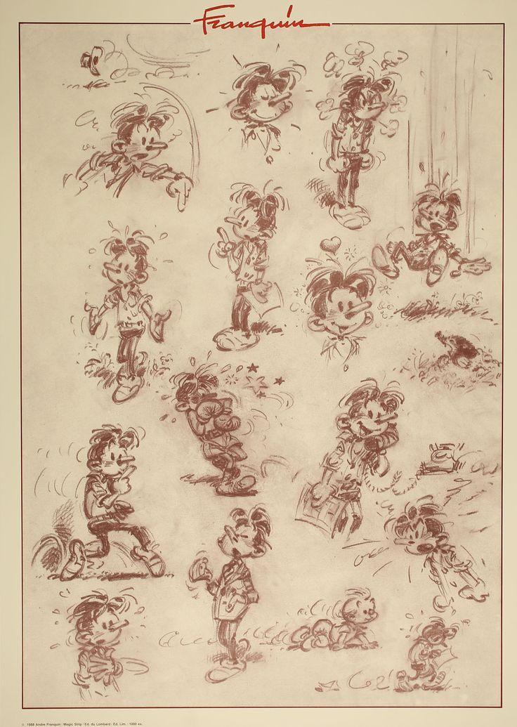 Andre Franquin - Character sheet. On voit le personnage bouger de différentes façon : les mouvements sont retranscrits par des petits traits. Expressivité/expression, déplacement, gestuelle.