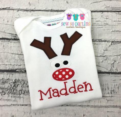 Reno Navidad camisa traje de Navidad del niño por SewSoDarling