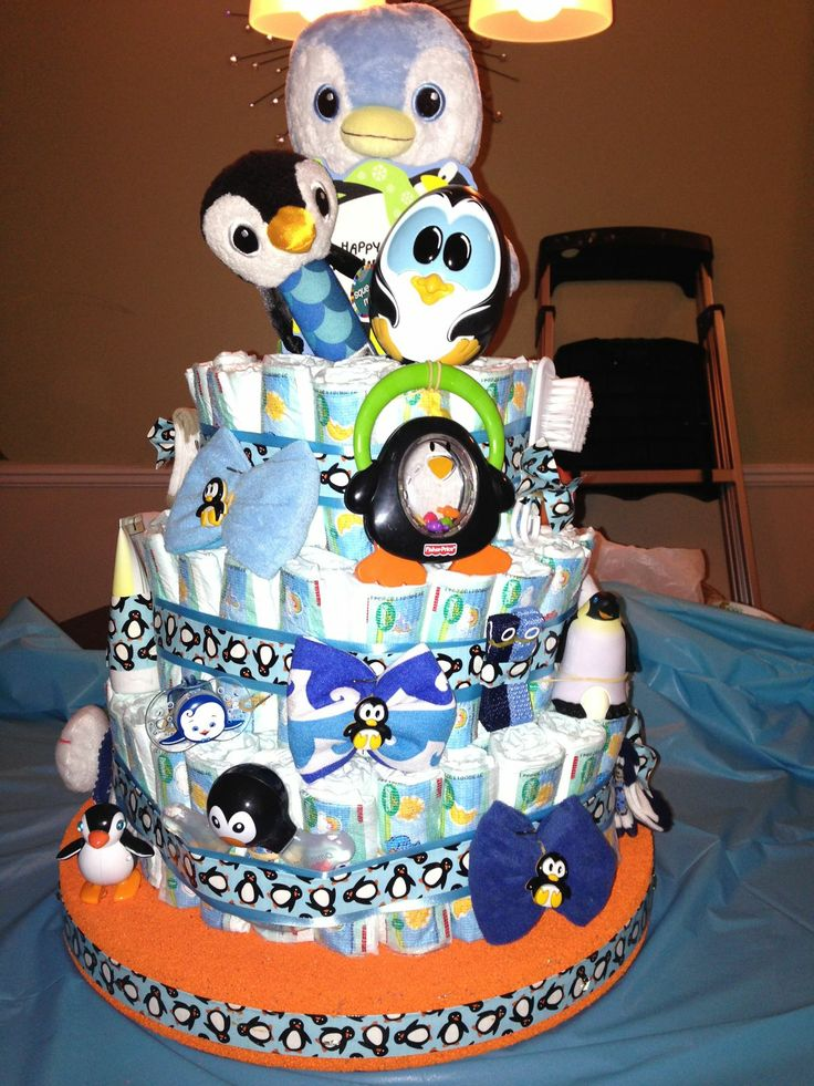 Penguin Diaper Cake I Made For My Bestieu0027s Baby Shower!