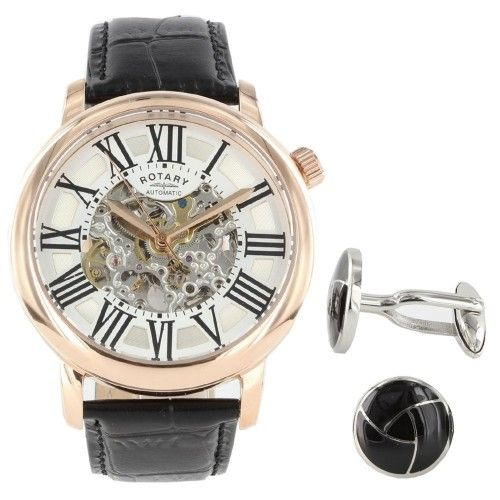 Check out this Rotary automatic watch and cuff link set GLE000014/21B with £100 off RRP at just £125!