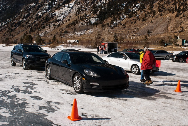 Porsche and Audi Vehicles wait for their turn on Georgetown Lake during Prestige Imports first annual Winter Driving Event in Georgetown, CO on February 18th, 2012