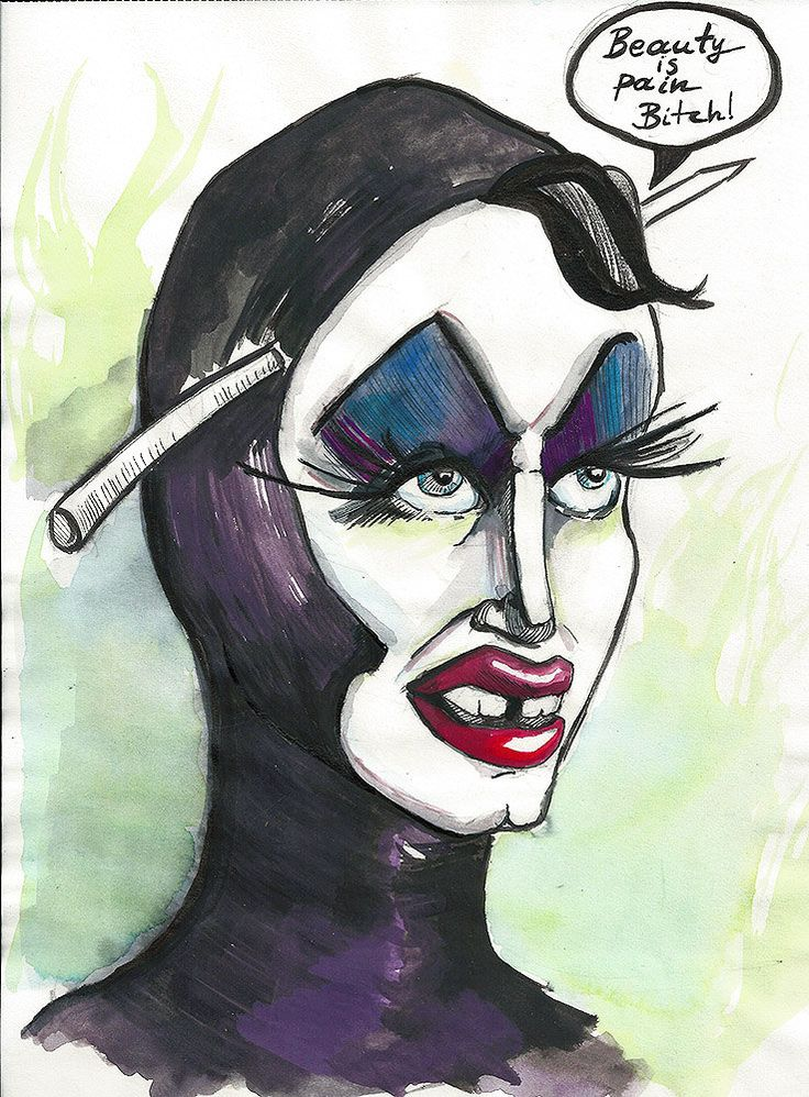 Funny Original Illustration Mixed media Drawing - Drag queen - Beauty is Pain by PapeMoe on Etsy