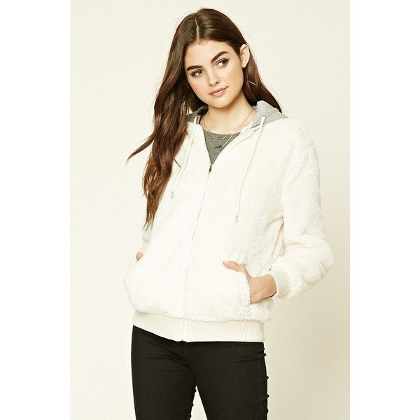 Forever21 Hooded Faux Fur Jacket ($35) ❤ liked on Polyvore featuring outerwear, jackets, cream, faux fur hooded jackets, white faux fur jacket, forever 21 jackets, cream faux fur jacket and zip front jacket