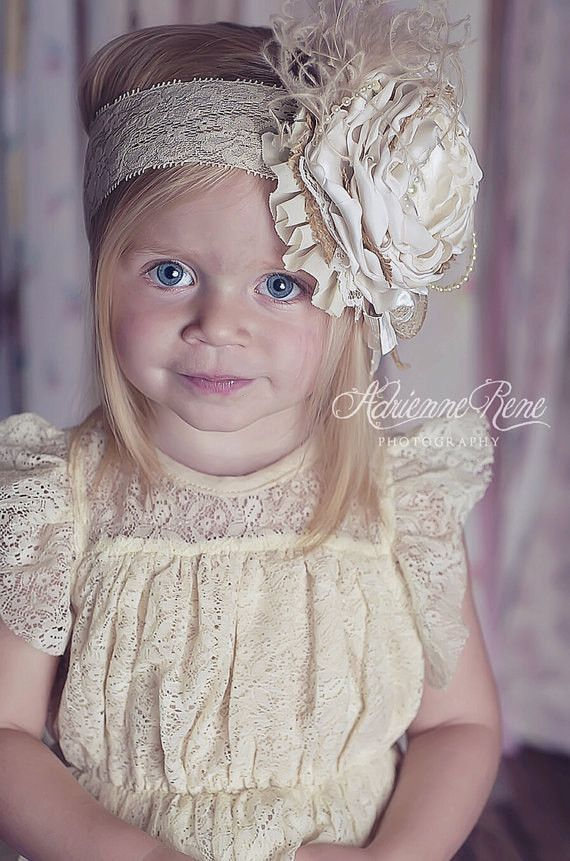 Creme Brulee - Vintage Style Over the Top Headband