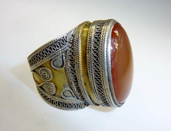 Afghanischer Silber-Ring mit Karneol 19 mm von neemaheTribal