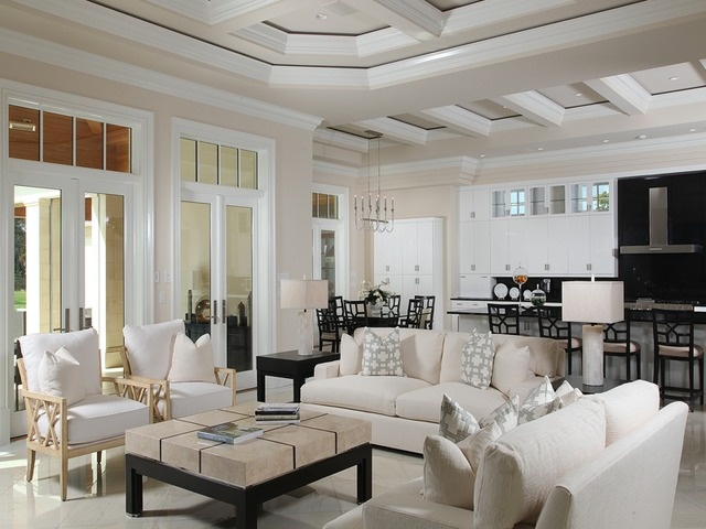 Transitional Living Room Neutral Estuary At Grey Oaks Naples Florida