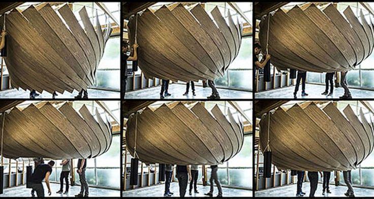 MIT Automontagem Lab, Google, estrutura temporária, espaço para reuniões, espaços para reuniões transformáveis, feltro, madeira compensada, design verde, estrutura transformável, inovação design, layout de plano aberto, espaços de escritórios. #MIT #GOOGLE
