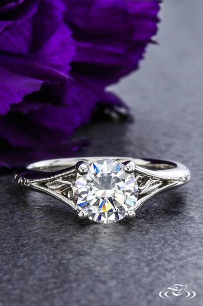 Antique Style Filigree Engagement Ring. Green Lake Jewelry