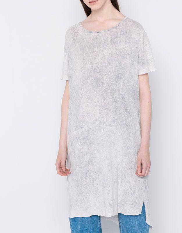 FADED-EFFECT SHORT-SLEEVE MID-LENGTH DRESS - DRESSES - WOMAN - PULL&BEAR Hungary