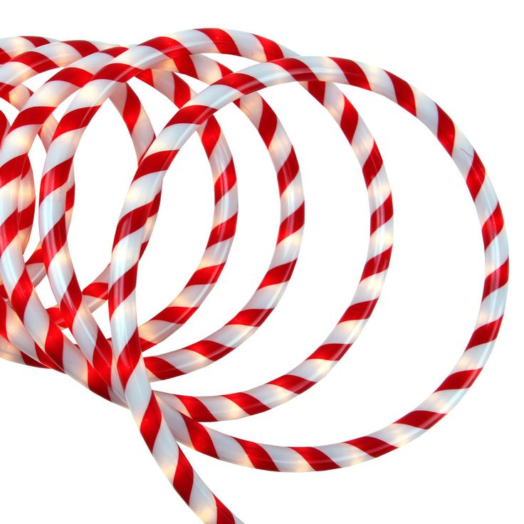 """18' Red and White Candy Cane Indoor/Outdoor Christmas Rope Lights - 1""""Bulb Spacing. Christmas Lights. Christmas Yard Art. Christmas Decorations. Artificial Christmas Trees. Christmas Ornaments. Christmas Tree Skirts. 