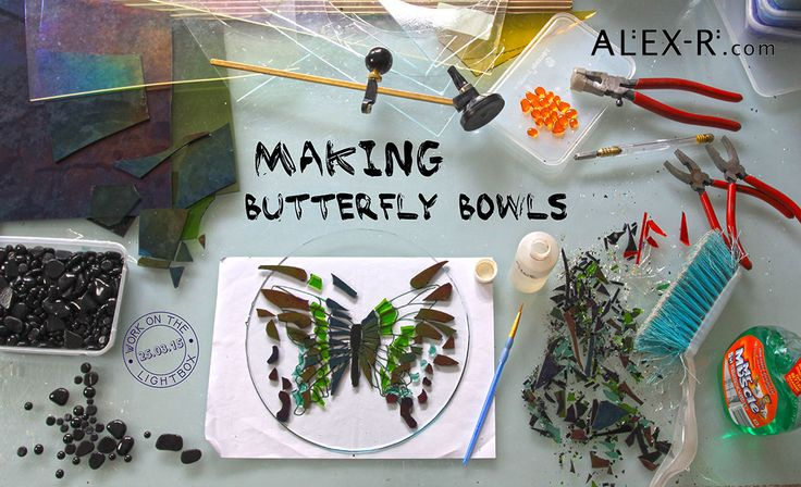 Behind the scenes at the Glass Studio. Work on the lightbox 25.03.15: Making a Butterfly Bowl.