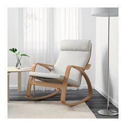 IKEA - POÄNG, Sedia a dondolo, Finnsta bianco, , La struttura in multistrato di faggio curvato offre una flessibilità confortevole.La fodera è facile da tenere pulita poiché è asportabile e lavabile in lavatrice.Per una seduta ancora più comoda e rilassante, usa la poltrona insieme al poggiapiedi POÄNG.I diversi cuscini disponibili ti permettono di cambiare facilmente lo stile della tua poltrona POÄNG e del tuo soggiorno.Lo schienale alto garantisce un buon supporto al collo.10 anni di…