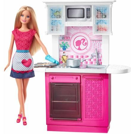 Barbie Doll and Kitchen Set