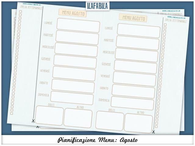 Printable Menu Planning: Agosto