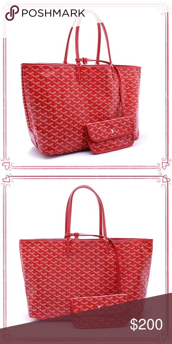 Goyard St. Louis PM Tote with Wallet $200 This is an inspired Goyard Tote with matching wallet Red. Very close to the actual goyard bag at a fraction of the cost because original price is $2000 for this but you can have this version for $200 Goyard Bags Totes