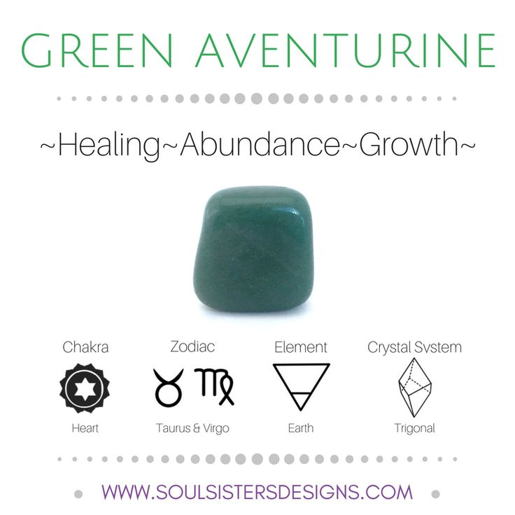 Metaphysical Healing Properties of Green Aventurine, including associated Chakra, Zodiac and Element, along with Crystal System/Lattice to assist you in setting up a Crystal Grid. Go to https://www.soulsistersdesigns.com/green-aventurine to learn more!
