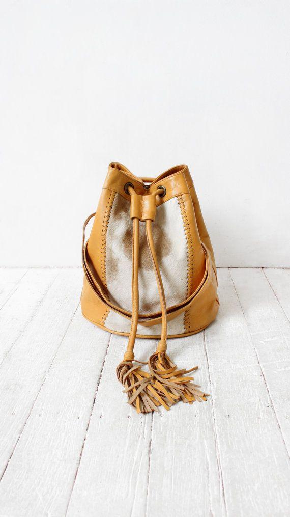 tan bucket bag | cowhide bag | leather purse | bucket bag