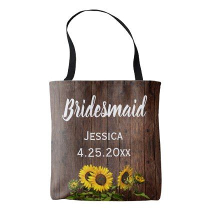 Rustic Woodsy Country Sunflower Bridesmaid Wedding Tote Bag - rustic gifts ideas customize personalize