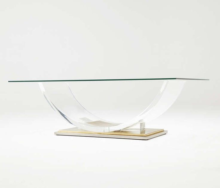 Lucite and Brass Coffee Table | From a unique collection of antique and modern coffee and cocktail tables at https://www.1stdibs.com/furniture/tables/coffee-tables-cocktail-tables/