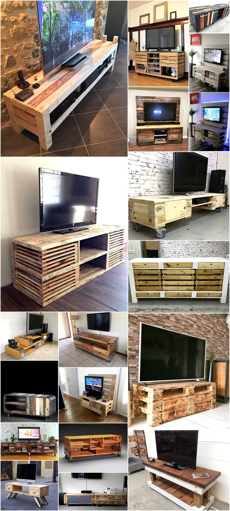 Home shop live tv stands chunky stretch tv stand - Eye Catching Ideas For Pallets Tv Stands
