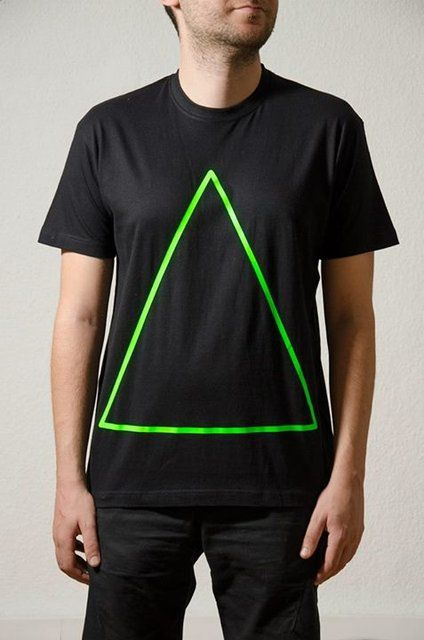 Cotton Black T-Shirt Design : Neon Green Triangle