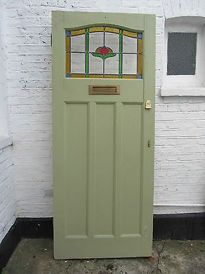 1930's stained glass front door 34 x 82 inches