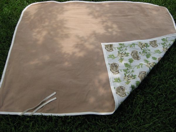 make a water proof picnic blanket from a vintage vinyl table cloth. This is a pretty good blog to re-visit too!