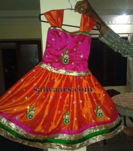 Indian Dresses: Eyecatching Kids Silk Skirt