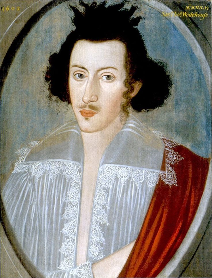 Unknown artist, Sir Thomas Wodehouse, 2nd Baronet, aged 19, 1605.  (c.1585–1658),  Son of Sir Philip Wodehouse, 1st Baronet, of Kimberley, Norfolk, and Grizell, dau. of William Yelverton. MP for Thetford 1640-1653, High Sheriff of Norfolk in 1624. married Blanche, dau. of John Carey, 3rd Baron Hunsdon (grandson Mary Boleyn).