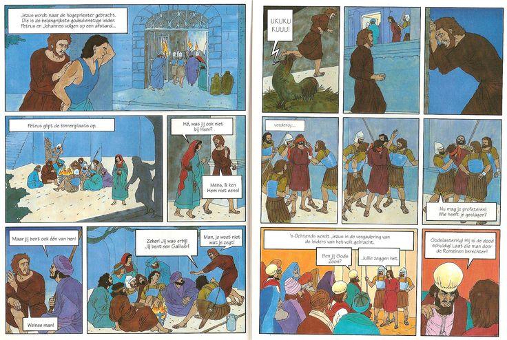 blz44en45 Jezus voor de hogepriester, Petrus liegt over Jezus haan kraait goede vrijdag pasen