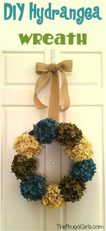 DIY Hydrangea Wreath For Your Front Door! ~ At TheFrugalGirls.com ~ Pretty  Up