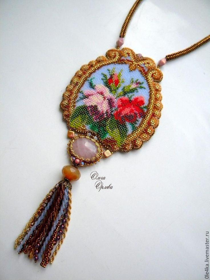 Купить Кулон с кисточкой - коричневый, ольга орлова, кулон с цветами, розы, кисточка, кварц розовый