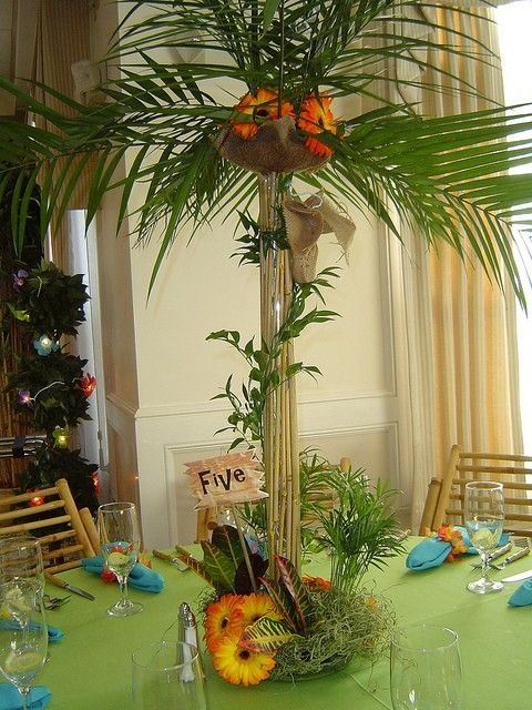 luau tree center piece and lights -Instant atmosphere!
