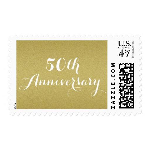 Simple Gold Glitter 50th Wedding Anniversary Stamp