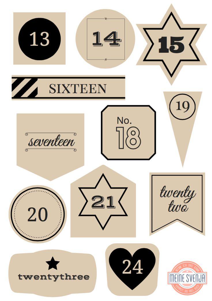 Adventskalender Zahlen zum Ausdrucken schwarze Zahlen 13 bis 24 Handlettering in beigen Formen www.meinesvenja.de