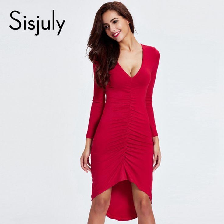 Sisjuly women dress red new fashion style women v neck office dresses bandage bodycon sexy party dresses sheath elegant