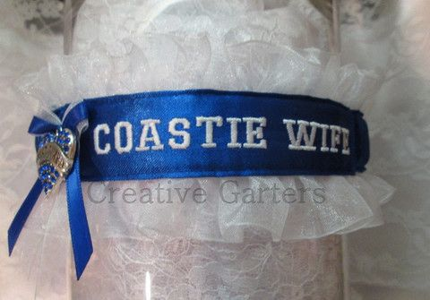 Military U.S. Coast Guard Embroidered Wedding Garter - Personalized Coastie Wife Garter.