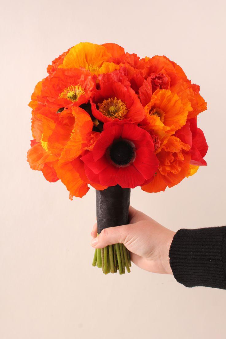Poppy wedding bouquet - Rustic wedding flowers made by Amy's Flowers