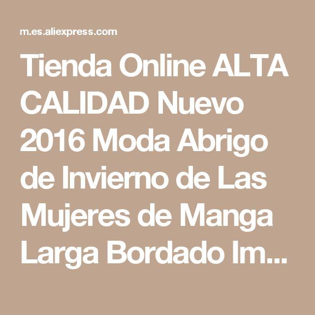 Tienda Online ALTA CALIDAD Nuevo 2016 Moda Abrigo de Invierno de Las Mujeres de Manga Larga Bordado Impresionante Cremallera Abajo Chaqueta Parka Tamaño M-3XL   Aliexpress móvil