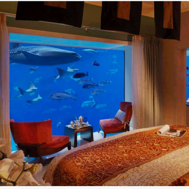 Underwater suites atlantis dubai oh the places you 39 ll for Fish hotel tank