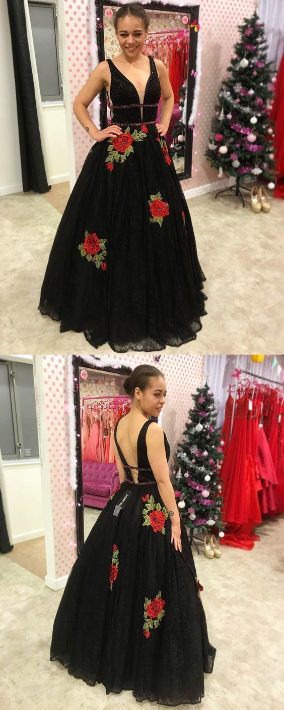 8cd4110741e Princess Black Lace Long Prom Dress with Floral Embroidery by ainiprom
