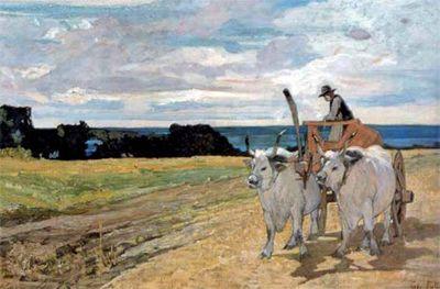 """""""Bovi alcarro"""", Giovanni Fattori, 1867; olio su tela, 46x108 cm; l'opera è conservata presso la Galleria d'arte moderna, Firenze."""
