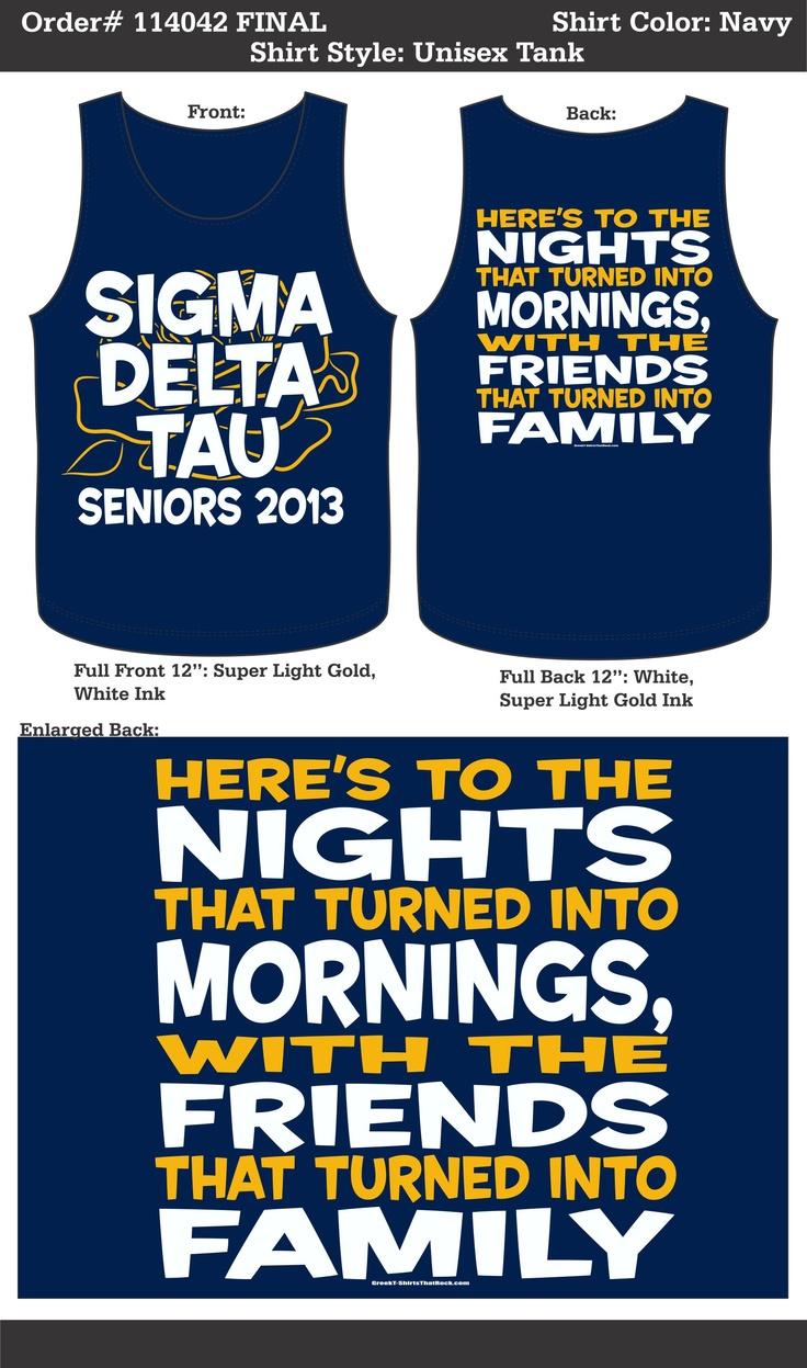 Loveeee this idea!!!  Sigma Delta Tau Tank  http://www.greekt-shirtsthatrock.com/