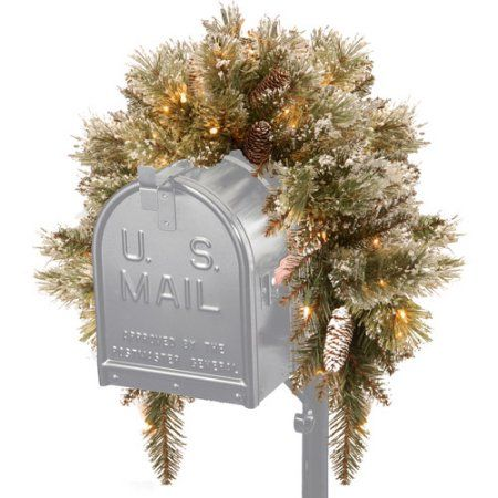 National Tree 3' Glittery Bristle Pine Mailbox Swag with 9 White Tipped Cones and 35 Warm White Battery Operated LED Lights with Timer