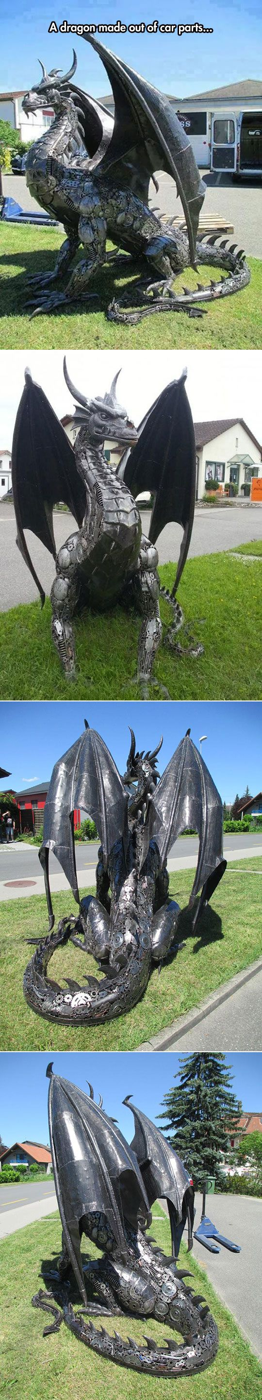 Awesome car part dragon.<- shut up this is an industrial dragon or a metal dragon or something everyone knows you cant make dragons