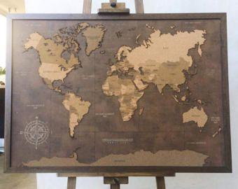 Best 25 cork world map ideas on pinterest cork map cork board big lasercut and handmade cork world map wall art by arboldecorcho gumiabroncs Choice Image