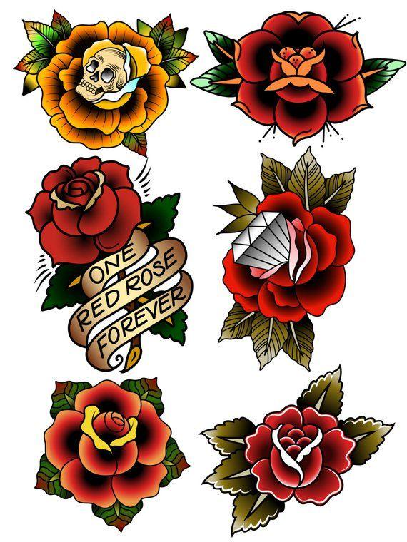 Traditional Temporary Tattoos Rose Temporary Tattoos Fake